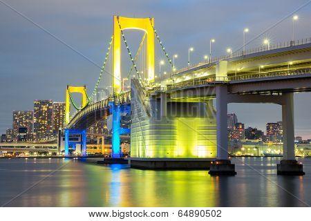 Rainbow bridge from Odaiba Tokyo at dusk in Japan