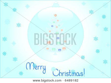 Background of christmas tree inside a snow ball
