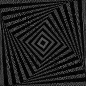 Design monochrome twirl movement square geometric background. Abstract doodle strip torsion backdrop. Vector-art illustration poster