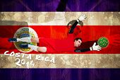 Goalkeeper in red making a save against costa rica flag in grunge effect poster