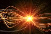 Digitally generated curved laser light design in orange poster