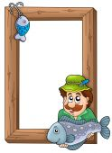 Wooden frame with fisherman and fish - color illustration. poster