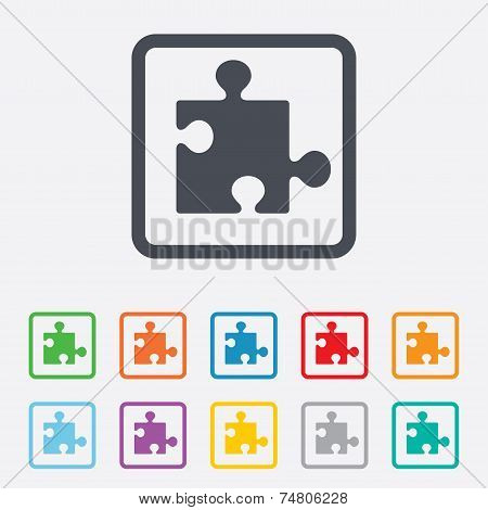 Puzzle piece sign icon. Strategy symbol. Round squares buttons with frame. Vector poster