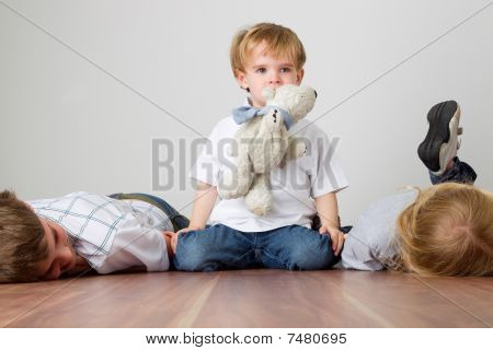 Boy Is Playing Mother Cat