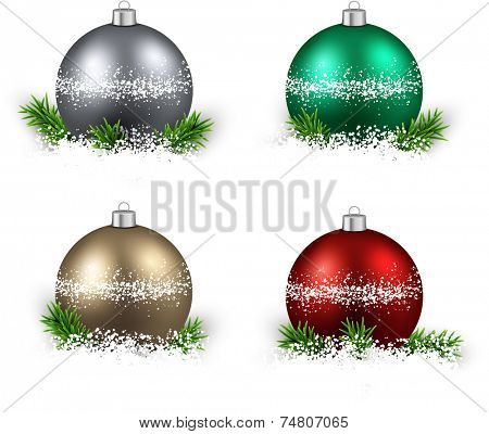 Colorful set of realistic christmas balls on snow with fir branches. Vector illustration.  poster