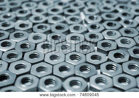 Nuts in an organized array pattern