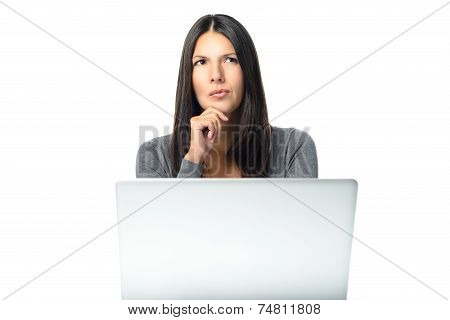 Businesswoman With A Worried Frown Busy Thinking