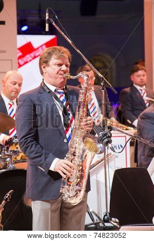 MOSCOW - OCTOBER 17: Jazz saxophonist Igor Butman during First Moscow International Forum on October 17, 2014 in Moscow, Russia.
