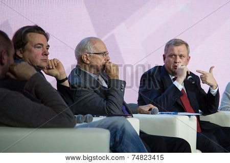 MOSCOW - OCTOBER 17: K. Ernst, N. Mikhalkov, S. Kapkov. Talk show. Art, education, and culture during First Moscow International Forum on October 17, 2014 in Moscow, Russia.
