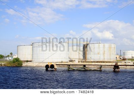 Oil Tanks In The Port Of Tampa Florida