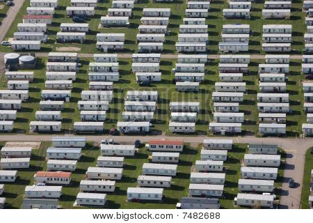 Aerial of a caravan park.