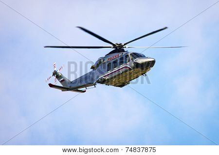 Russian Prime Minister`s Helicopter In The Air