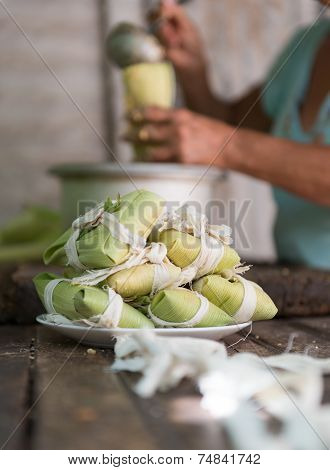 Woman Making Tamales In Cuba