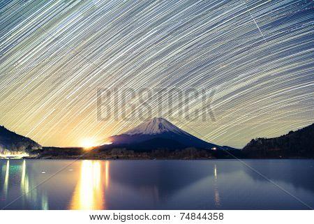 Mount Fuji, Lake Shojiko and star trails of winter stars