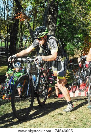 Cyclists Competing In Cyclocross Race