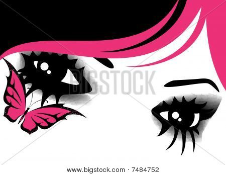 eyes in style of emo with butterfly