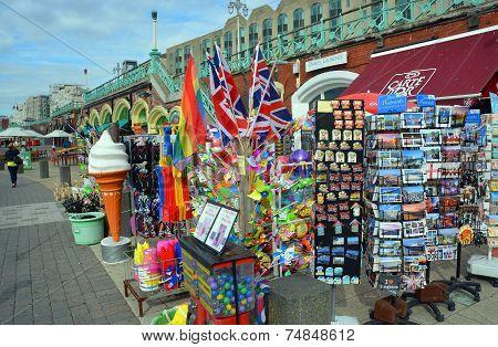 Tourist Souvernirs For Sale On Brighton Beach And Boardwalk.