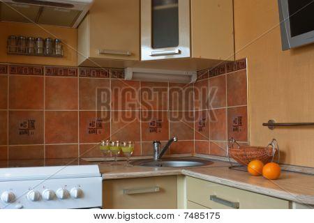 Interior of small kitchen
