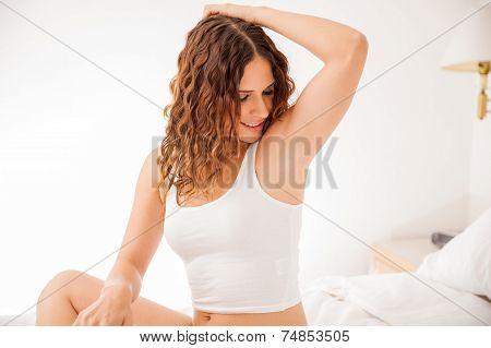 Cute Girl With Hair Free Armpits