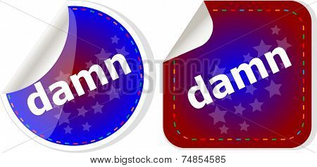 Damn Word On Stickers Web Button Set, Label, Icon