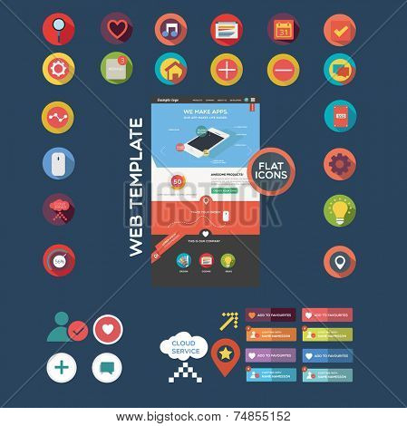 Flat web graphics including web template