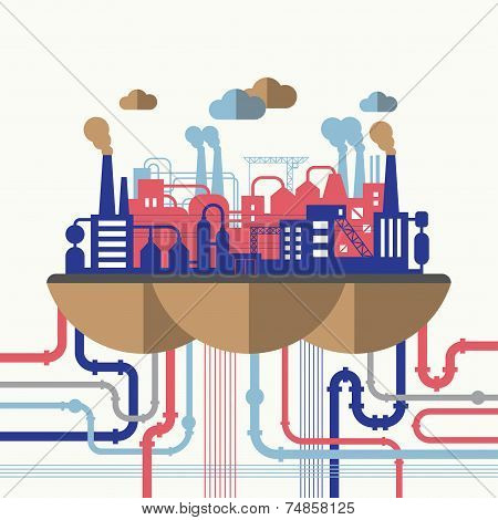 Flat design vector illustration concept of nature pollution. Industrial landscape with plant and factory buildings, smoking pipes, wires and constructions poster