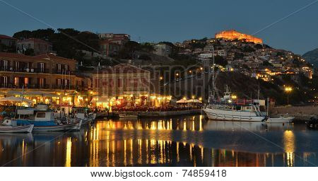 Harbour Restaurants Molyvos early evening