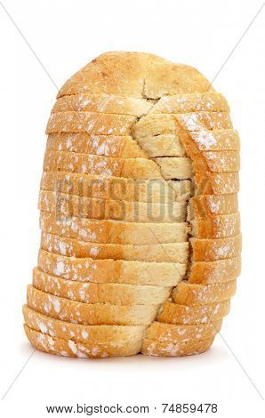 a sliced bread loaf on a white background poster