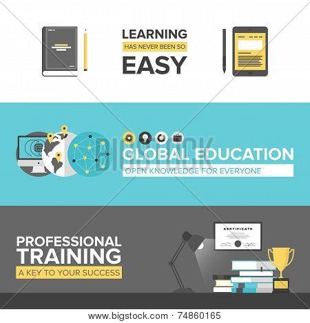 Global Education Flat Design Banners