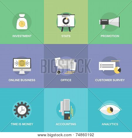 Accounting And Investing Flat Icons