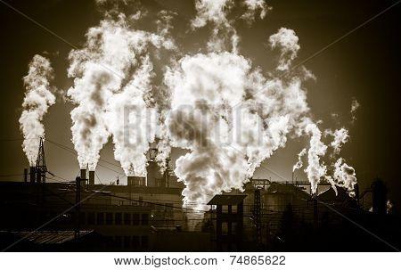 Air pollution - factory Mondi at town Ruzomberok - Slovakia poster