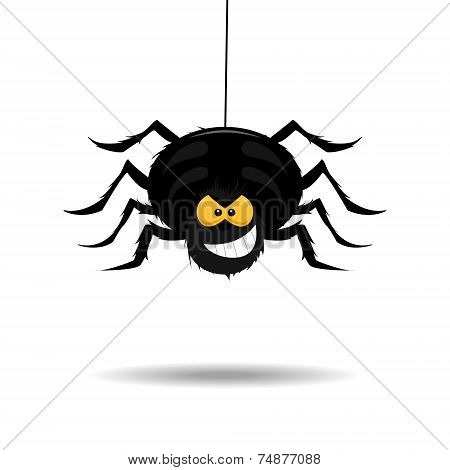 Evil and scary cartoon spider on the white background. Isolated. poster