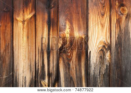 Old rustic weathered barn wood background with knots poster
