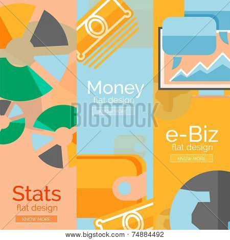 Money, business, e-commerce concepts. Set of flat design banners poster