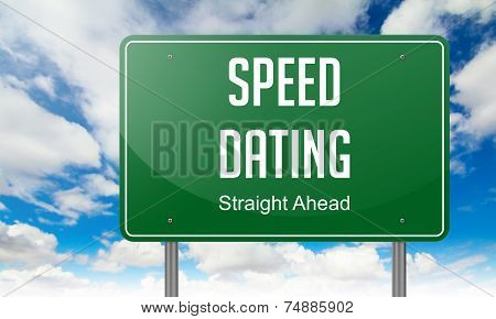 Speed Dating on Green Highway Signpost.