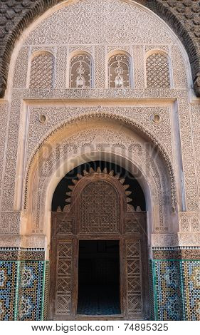 The marble craft of building at Medersa Ben Youssef in Marrakesh poster