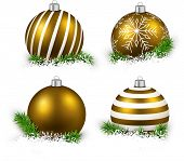 Colorful set of golden realistic christmas balls on snow with fir branches. Vector illustration.  poster
