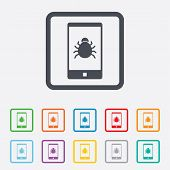 Smartphone virus sign icon. Software bug symbol. Round squares buttons with frame. Vector poster