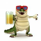 3d render cartoon of crocodile collection series poster