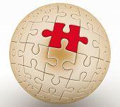spherical jigsaw. 3d rendering on white  poster
