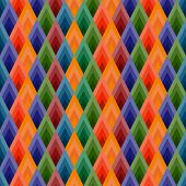 Vector background seamless of rhombuses. Vibrant ethnic shades. poster