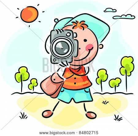 Photographer with a cap, bag and camera