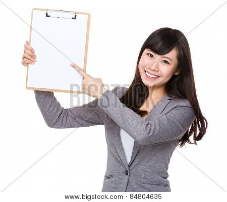 Businesswoman finger point tp clipboard poster