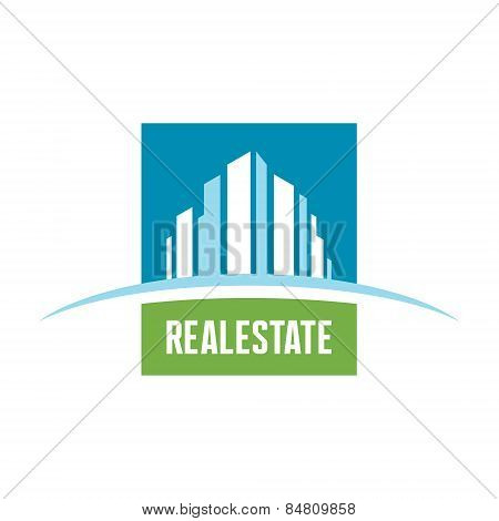 Real estate logo concept illustration. Building logo. Cityscape logo. Abstract vector logo.