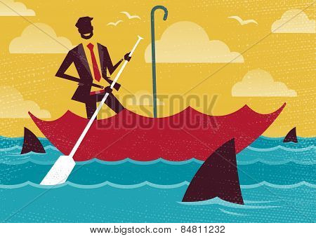 Businessman Uses Umbrella To Sail To Safety.