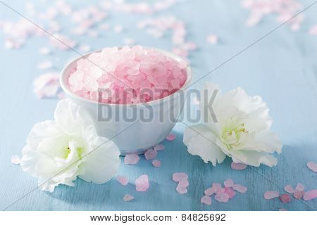 spa aromatherapy set with azalea flowers and herbal salt poster