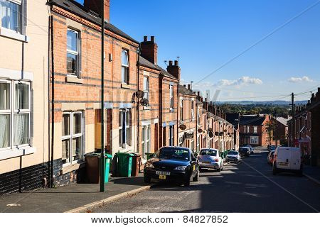 Terrace houses and satellite dishes
