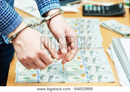 money bribe or corruption theme. male hands with dollars banknotes in handcuffs