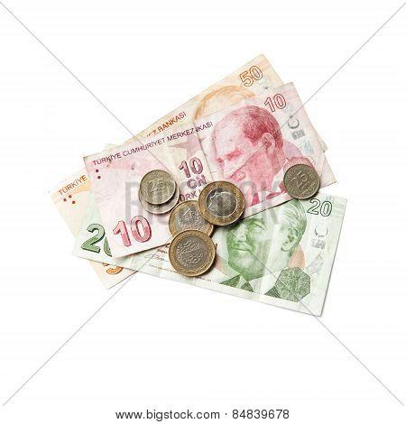 Turkish Money Isolated On White Background