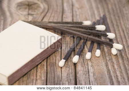 Black Matches On Wood
